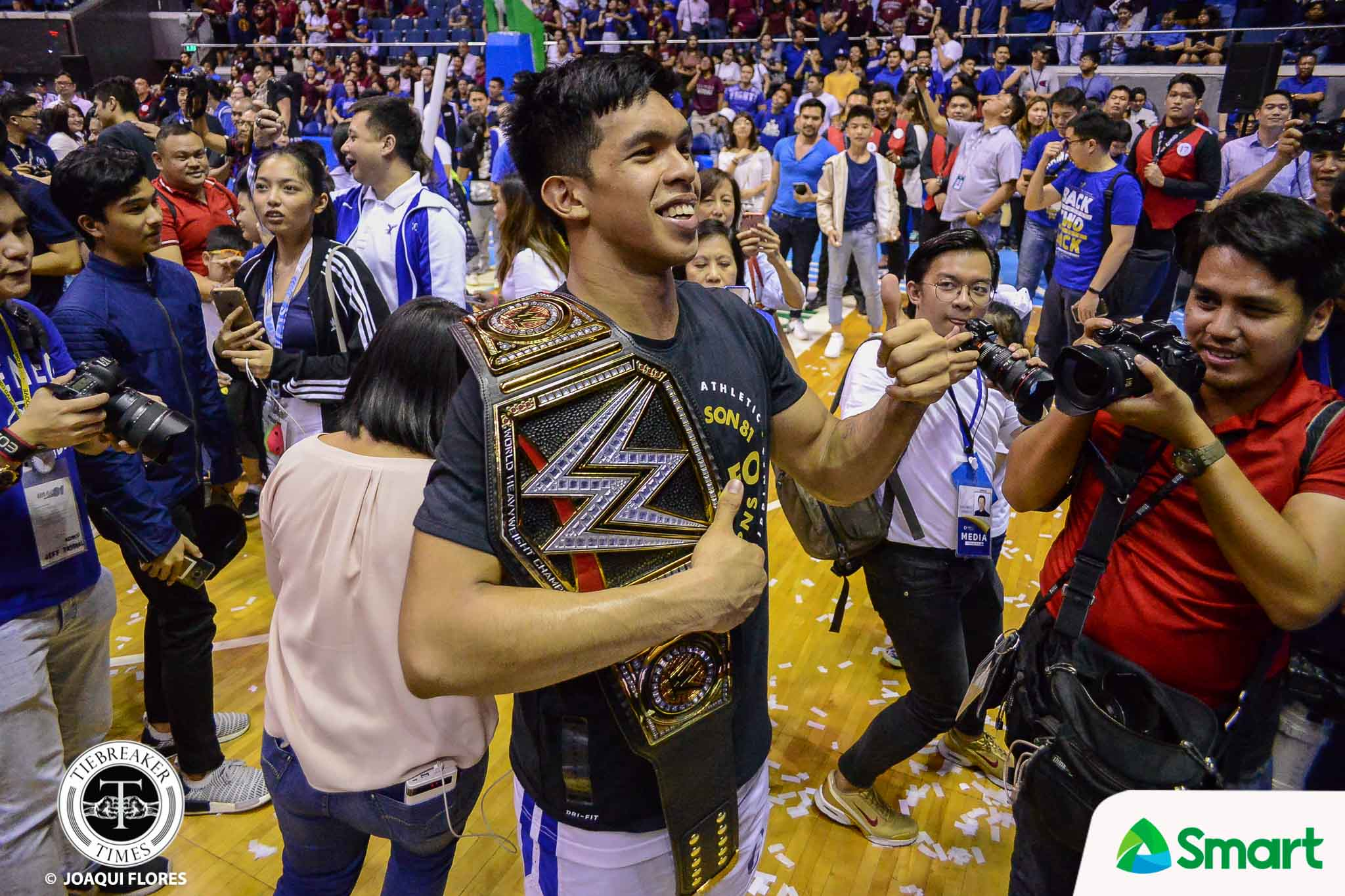 Tiebreaker Times Thirdy Ravena carries WWE belt during celebration ADMU Basketball News UAAP  UAAP Season 81 Men's Basketball UAAP Season 81 Thirdy Ravena Ateneo Men's Basketball