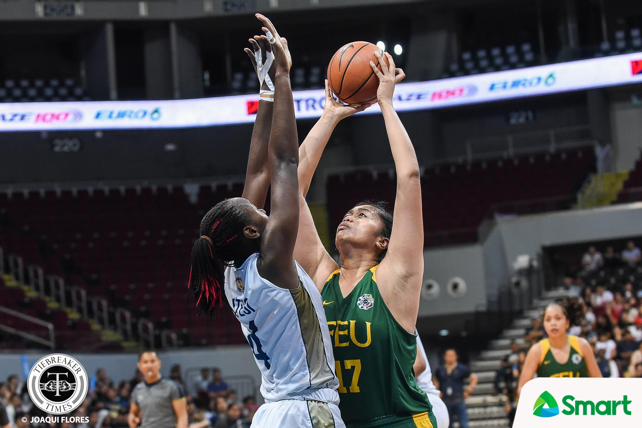 Tiebreaker Times NU's twin towers lock down Castro, lead Lady Bulldogs to Game 1 win Basketball FEU News NU UAAP  UAAP Season 81 Women's Basketball UAAP Season 81 Rhena Itesi Patrick Aquino NU Women's Basketball Jeanne Camelo Jack Animam FEU Women's Basketball Clare Castro Bert Flores
