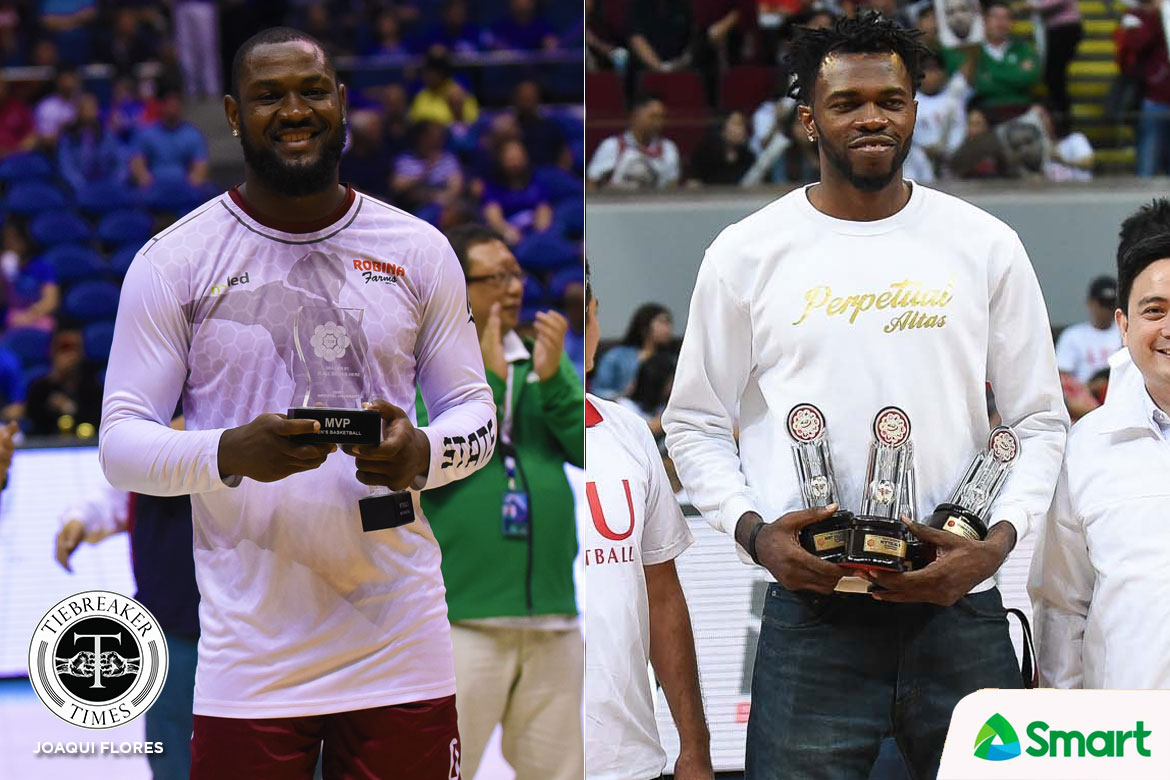 Tiebreaker Times Friendship Goals: Bright Akhuetie, Prince Eze on top of collegiate world Basketball NCAA News UAAP UP UPHSD  UP Men's Basketball UAAP Season 81 Men's Basketball UAAP Season 81 Prince Eze Perpetual Seniors Basketball NCAA Season 94 Seniors Basketball NCAA Season 94 Bright Akhuetie