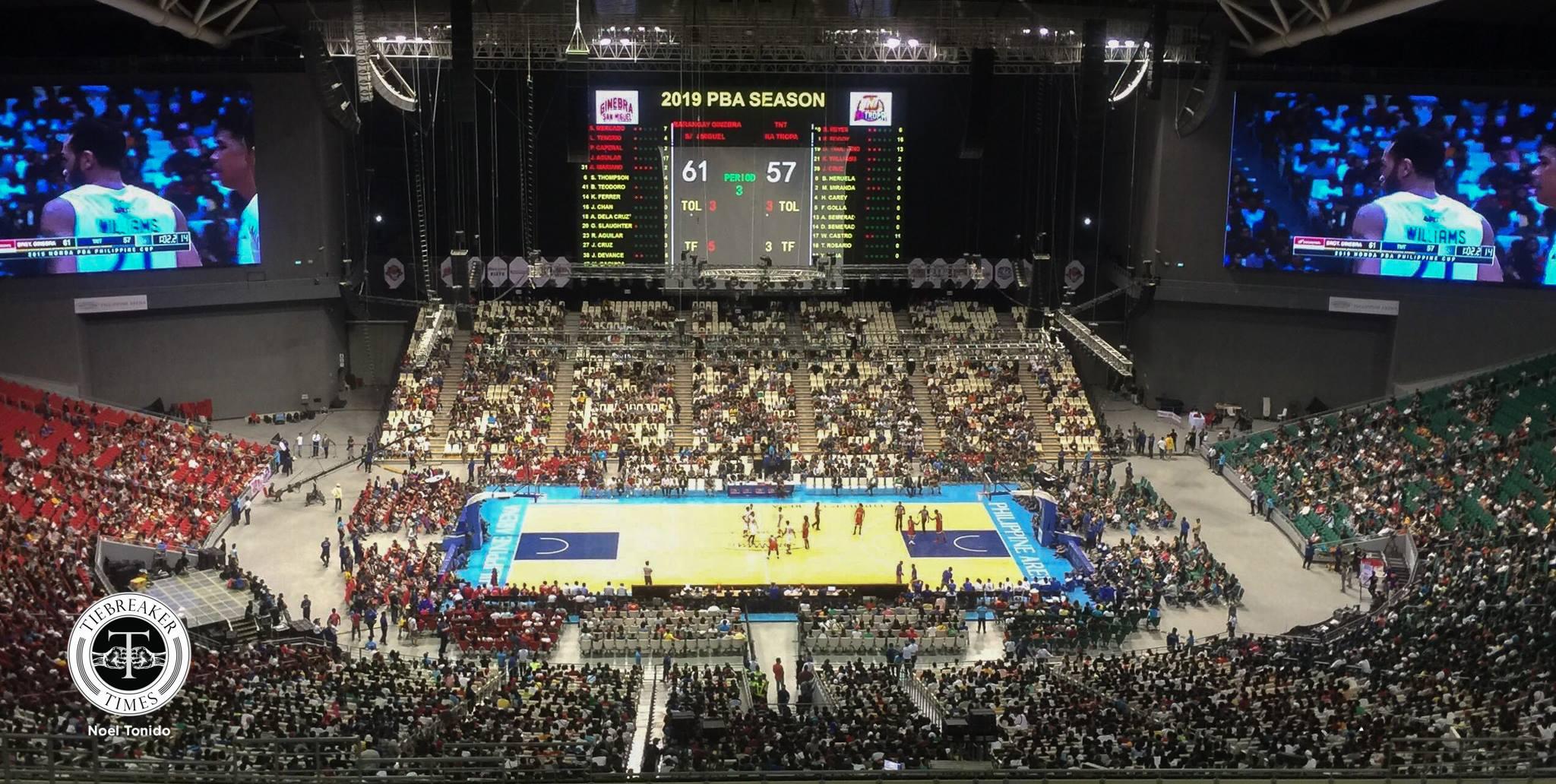 Tiebreaker Times 23,711 fans troop to Philippine Arena for PBA opener Basketball News PBA  Willie Marcial TNT Katropa PBA Season 44 Barangay Ginebra San Miguel 2019 PBA Philippine Cup 2018 PBA Leo Awards
