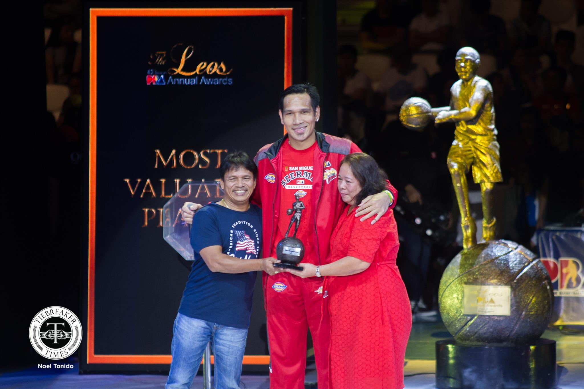 Tiebreaker Times June Mar Fajardo pays tribute to parents after winning 5th MVP plum Basketball News PBA  San Miguel Beermen PBA Season 43 June Mar Fajardo 2018 PBA Leo Awards