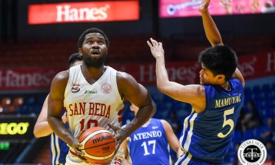 Tiebreaker Times San Beda draws first blood against Ateneo in PCCL semis ADMU Basketball News SBC  Sandy Arespacochaga San Beda Seniors Basketball Evan Nelle Donald Tankoua Boyet Fernandez BJ Andrade Ateneo Men's Basketball Angelo Kouame 2019 PCCL National Championship