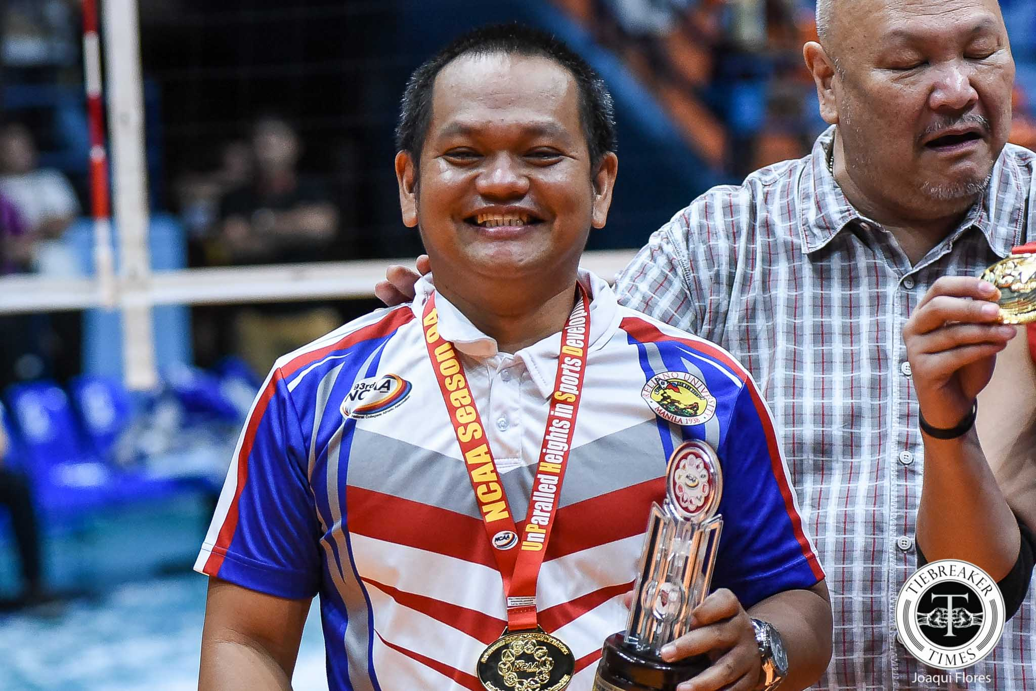 Tiebreaker Times Obet Javier dedicates fourth title to late mentor Nes Pamilar AU NCAA News Volleyball  Obet Javier NCAA Season 94 Women's Volleyball NCAA Season 94 Arellano Women's Volleyball