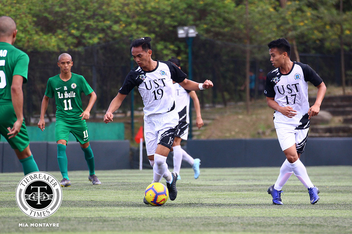Tiebreaker Times Aljireh Fuchigami header lifts UST Golden Booters, sends FEU to two-game skid FEU Football News UAAP UST  Zaldy Abraham Jr UST Men's Football UAAP Season 81 Men's Football UAAP Season 81 Park Bo Bae Marjo Allado FEU Men's Football Dave Parac Aljireh Fuchigami