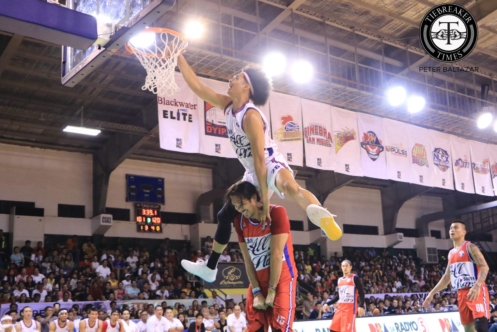 Tiebreaker Times Just how good of a friend Fajardo is to Japeth Aguilar? He lets him dunk on him Basketball News PBA  PBA Season 44 Japeth Aguilar 2019 PBA All-Star Game