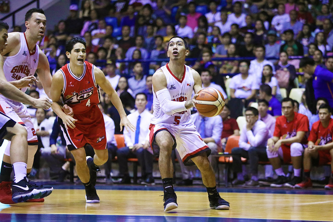 Tiebreaker Times LA Tenorio sees no issue with Simon Enciso's late trey: 'Every point counts in today's game' Basketball News PBA  PBA Season 44 LA Tenorio Barangay Ginebra San Miguel 2019 PBA Philippine Cup