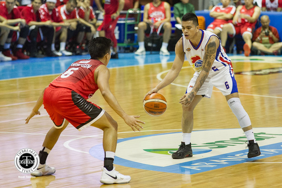Tiebreaker Times Scottie Thompson does not let cramps get in way of duel with Jalalon Basketball News PBA  Scottie Thompson PBA Season 44 Barangay Ginebra San Miguel 2019 PBA Philippine Cup