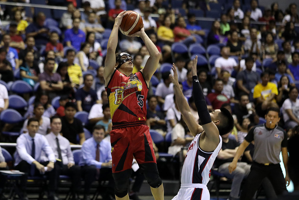 Tiebreaker Times Standhardinger returns as Alex Cabagnot-led San Miguel manhandles Alaska Basketball News PBA  Von Pesusmal Sonny Thoss San Miguel Beermen PBA Season 44 Leo Austria June Mar Fajardo Christian Standhardinger Chris Ross Chris Banchero Carl Cruz Arwind Santos Alex Compton Alex Cabagnot Alaska Aces 2019 PBA Philippine Cup