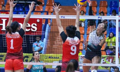 Tiebreaker Times United VC snaps PLDT's three-game streak to end first round News PSL Volleyball  Yaasmeen Bedart-Ghani Tai Manu-Olevao Roger Gorayeb PLDT Home Fibr Power Hitters Kendra Dahlke Joshua Ylaya Grace Lazard Bang Pineda Alohi Robins-Hardy