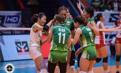 Tiebreaker Times Senior Tin Tiamzon, rookie Marionne Alba fill in nicely for injured Lady Spikers DLSU News UAAP Volleyball  UAAP Season 81 Women's Volleyball UAAP Season 81 Tin Tiamzon Marionne Alba DLSU Women's Volleyball