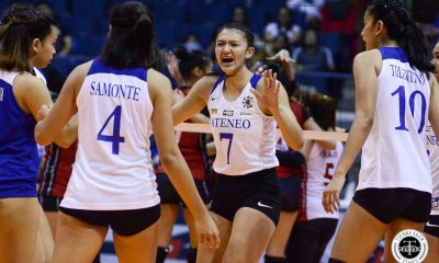 Tiebreaker Times Ateneo Lady Eagles stretch winning streak to 3, makes short work of UE ADMU News UAAP UE Volleyball  UE Women's Volleyball UAAP Season 81 Women's Volleyball UAAP Season 81 Rey Karl Dimaculangan Oliver Almadro Mary Ann Mendrez Maddie Madayag Kim Gequillana Kat Tolentino Judith Abil Deanna Wong Ateneo Women's Volleyball