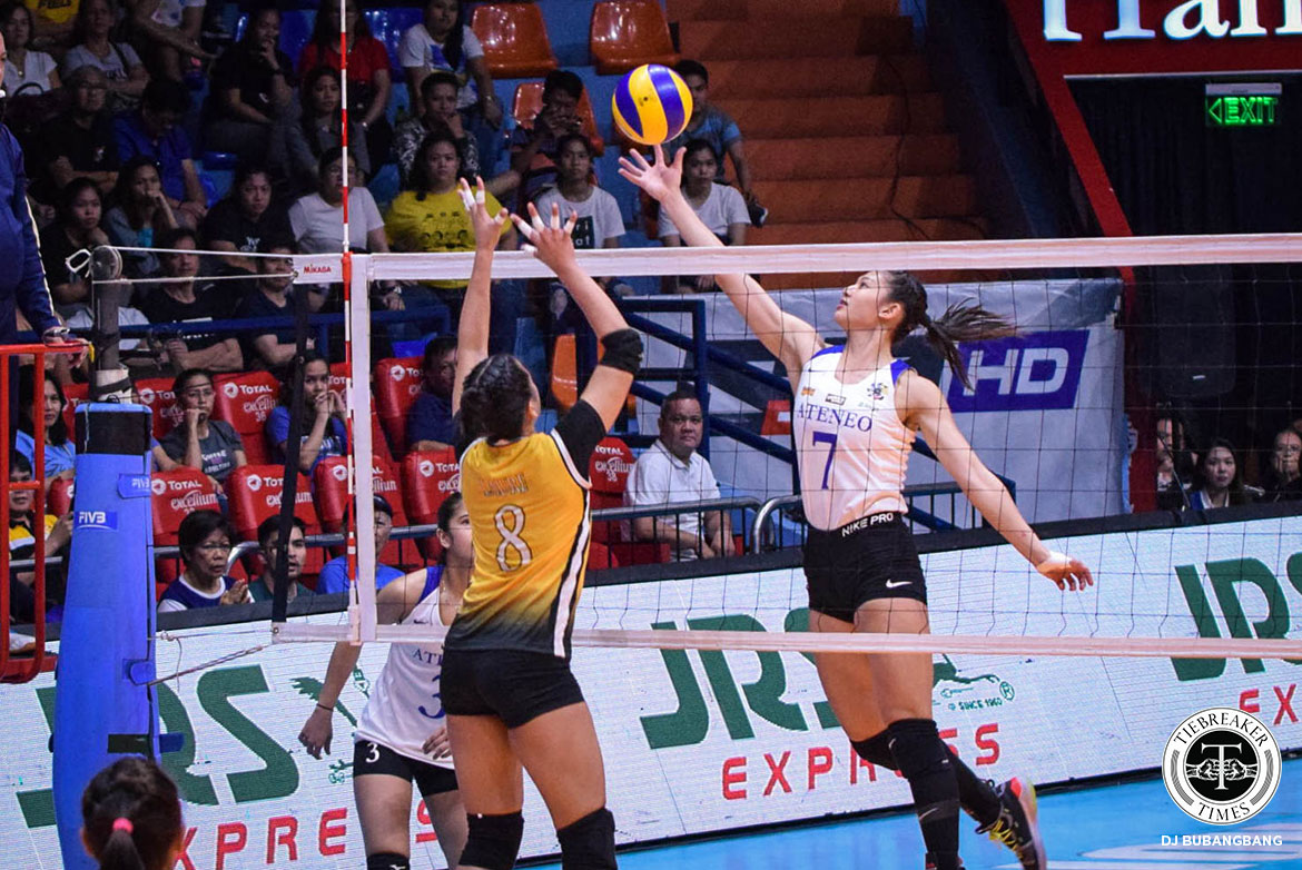 Tiebreaker Times Maddie Madayag's record-setting block performance lifts Ateneo past UST ADMU News UAAP UST Volleyball  UST Women's Volleyball UAAP Season 81 Women's Volleyball UAAP Season 81 Sisi Rondina Oliver Almadro Maddie Madayag Kungfu Reyes Kat Tolentino Eya Laure Deanna Wong Dani Ravena Ateneo Women's Volleyball