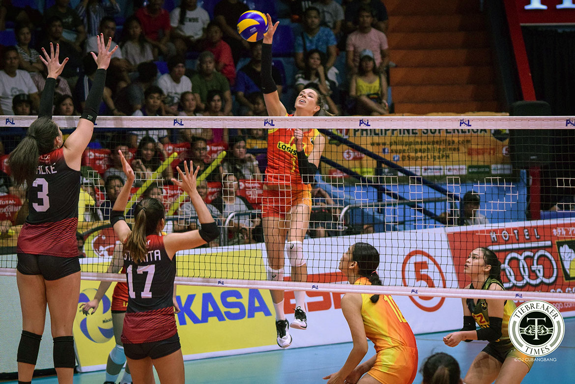 Tiebreaker Times Lindsay Stalzer's 29 buoys F2 Logistics to Game One win over PLDT News PSL Volleyball  Roger Gorayeb Ramil De Jesus PLDT Home Ultera Ultra Fast Spikers MJ Perez Lindsay Stalzer Kendra Dahlke Grace Lazard F2 Logistics Cargo Movers Dawn Macandili Alex Cabanos 2019 PSL Season 2019 PSL Grand Prix