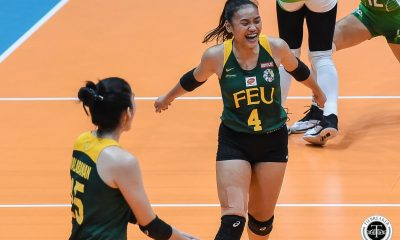 Tiebreaker Times FEU Lady Tamaraws play spoilers, send La Salle to playoff for second seed DLSU FEU News UAAP Volleyball  UAAP Season 81 Women's Volleyball UAAP Season 81 Tin Tiamzon Ramil De Jesus Jolina Dela Cruz Jerrili Malabanan Heather Guino-o George Pascua Gel Cayuna FEU Women's Volleyball DLSU Women's Volleyball Buding Duremdes