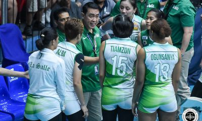 Tiebreaker Times Ramil De Jesus disappointed, still optimistic in twice-to-beat playoff DLSU News UAAP Volleyball  UAAP Season 81 Women's Volleyball UAAP Season 81 Ramil De Jesus DLSU Women's Volleyball