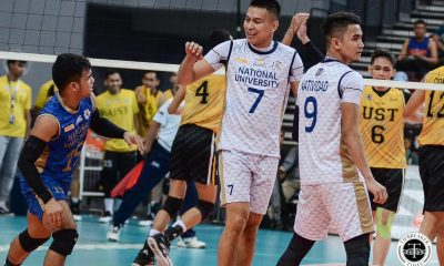 Tiebreaker Times NU Bulldogs thrash also-ran UST, claim twice-to-beat incentive News NU UAAP UST Volleyball  UST Men's Volleyball UAAP Season 81 Men's Volleyball UAAP Season 81 Ricky Marcos Odjie Mamon NU Men's Volleyball Nico Almendras Joshua Umandal Joshua Retamar Jayvee Sumagaysay James Natividad Dante Alinsunurin Bryan Bagunas