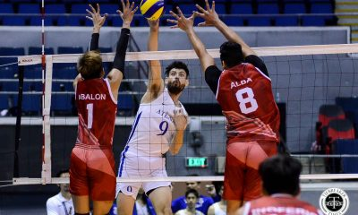 Tiebreaker Times Ateneo remains in twice-to-beat race, staves off UE for 9th win ADMU News UAAP UE Volleyball  UE Men's Volleyball UAAP Season 81 Men's Volleyball UAAP Season 81 Tony Koyfman Timothy Santo Tomas Ron Medalla Rod Roque Noel Alba Manuel Sumanguid Lawrence Magadia Geric Ortega Ateneo Men's Volleyball