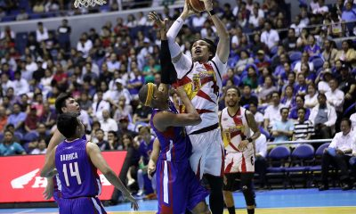Tiebreaker Times Double celebration for June Mar Fajardo as San Miguel evens series against Magnolia Basketball News PBA  Terrence Romeo San Miguel Beermen PBA Season 44 Mark Barroca Magnolia Hotshots Leo Austria June Mar Fajardo Jio Jalalon Ian Sangalang Christian Standhardinger Chris Ross Chito Victolero Arwind Santos Alex Cabagnot 2019 PBA Philippine Cup
