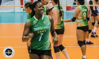 Tiebreaker Times Pacific Town-Army makes triumphant V-League return, escapes new-look BaliPure News PVL Volleyball  Sarah Gonzales Rommel Abella Pacific Town-Army Lady Troopers Olena Lymareva-Flink Kungfu Reyes Jovelyn Gonzaga Jenelle Jordan Grazielle Bombita Bali Pure Purest Water Defenders Angela Nunag Alexandra Vajdova 2019 PVL Season 2019 PVL Reinforced Conference