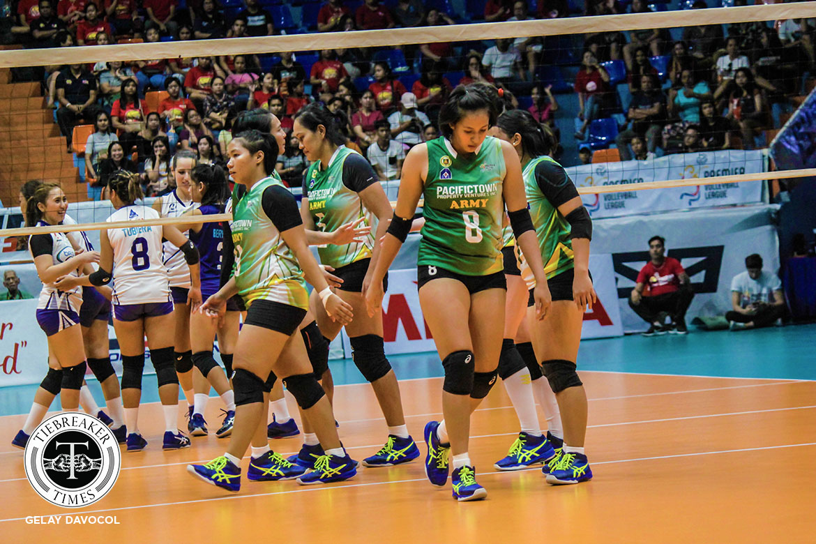 Tiebreaker Times Reyes looks to make most out of Pacific Town-Army's twilight years: 'Medyo pa-garahe na kami' News PVL Volleyball  Pacific Town-Army Lady Troopers Kungfu Reyes 2019 PVL Season 2019 PVL Reinforced Conference