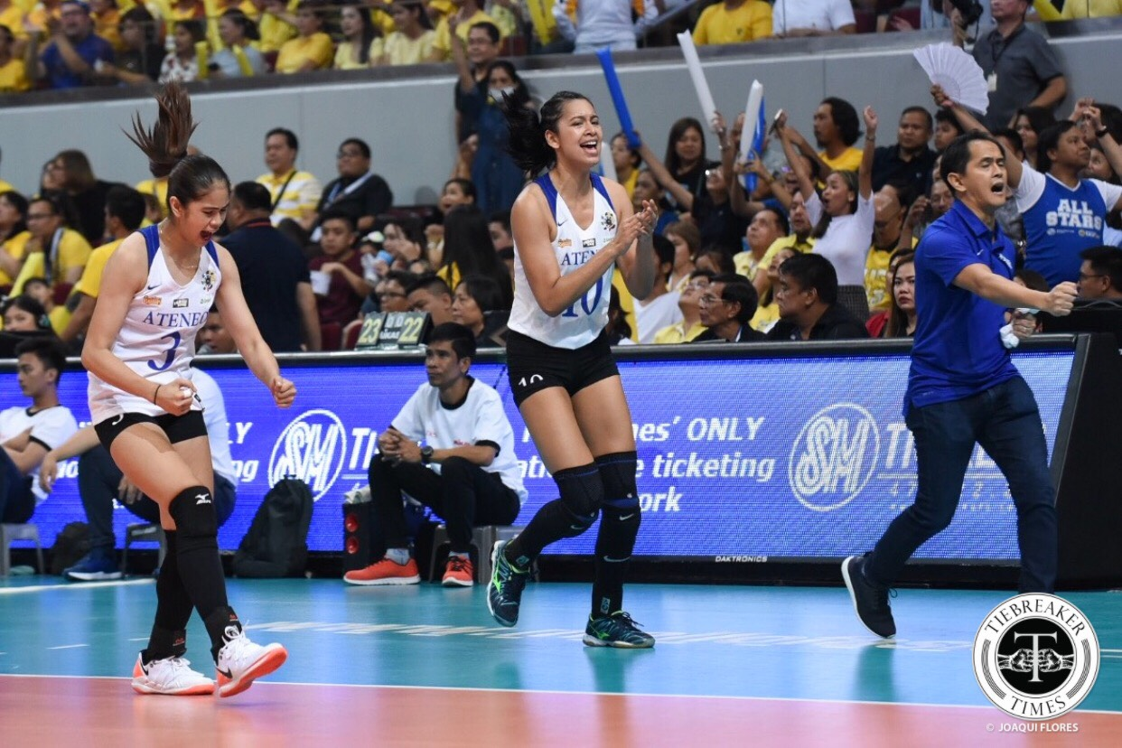 Tiebreaker Times Ateneo Lady Eagles stay alive, drag UST to Game 3 ADMU News UAAP UST Volleyball  UST Women's Volleyball UAAP Season 81 Women's Volleyball UAAP Season 81 Sisi Rondina Oliver Almadro Maddie Madayag Kungfu Reyes Eya Laure Deanna Wong Dani Ravena Bea De Leon Ateneo Women's Volleyball