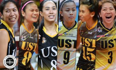 Tiebreaker Times Superstitious alumni continue to avoid watching UST games live at venues News UAAP UST Volleyball  UST Women's Volleyball UAAP Season 81 Women's Volleyball UAAP Season 81 Mela Tunay Eya Laure EJ Laure
