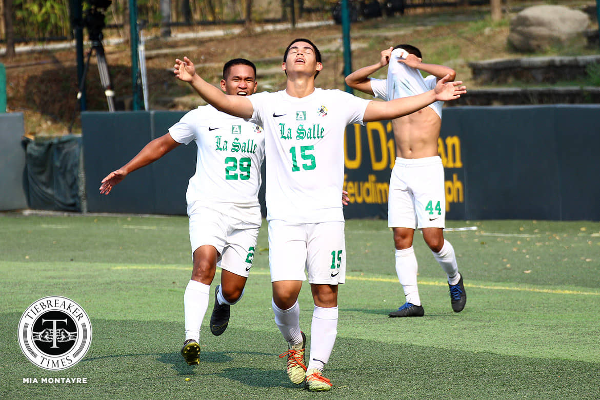 Tiebreaker Times Xavi Zubiri stoppage time goal crushes UST's heart as La Salle downs FEU to enter semis DLSU FEU Football News UAAP  Xavi Zubiri UAAP Season 81 Men's Football UAAP Season 81 Mikio Umilin Martini Rey John Rey Lagura Jed Diamante FEU Men's Football DLSU Men's Football Dave Parac Anthony Decena Alvin Ocampo