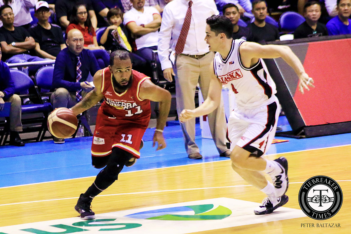 Tiebreaker Times Pringle gives Brownlee much-needed support as Ginebra downs Alaska Basketball News PBA  Vic Manuel Tim Cone Stanley Pringle PBA Season 44 LA Tenorio Justin Brownlee Japeth Aguilar Diamon Simpson Chris Banchero Barangay Ginebra San Miguel Alex Compton Alaska Aces 2019 PBA Commissioners Cup