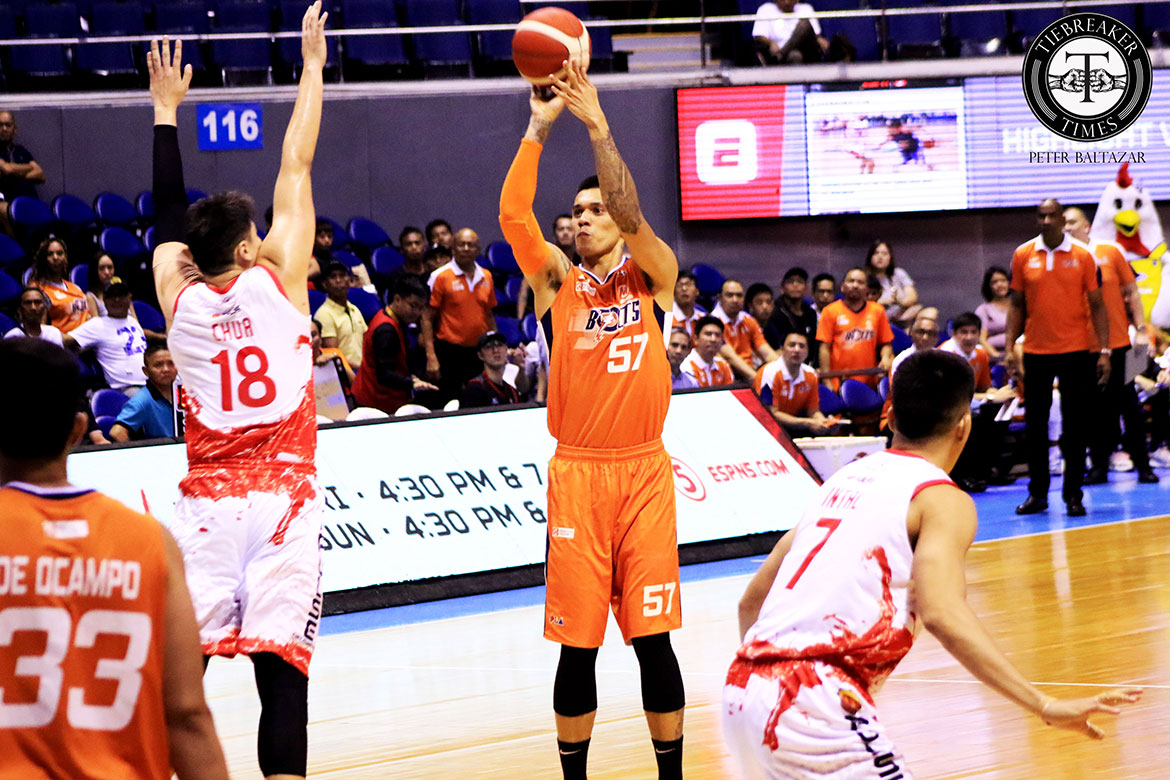 Tiebreaker Times Raymond Almazan looks to work on timing as he integrates self to Meralco Basketball News PBA  Raymond Almazan PBA Season 44 Meralco Bolts 2019 PBA Commissioners Cup