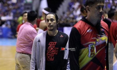 Tiebreaker Times Terrence Romeo remains on the sidelines due to Achilles injury Basketball News PBA  Terrence Romeo San Miguel Beermen PBA Season 44 Leo Austria Chris Ross 2019 PBA Commissioners Cup