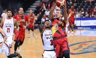Tiebreaker Times Lassiter, Beermen shooters hit mark as San Miguel pounds all-Filipino Blackwater for first win Basketball News PBA  Von Pessumal San Miguel Beermen Roi Sumang PBA Season 44 Mike DiGregorio Marcio Lassiter Leo Austria June Mar Fajardo Charles Rhodes Bobby Ray Parks Jr. Blackwater Elite Aris Dimaunahan Alex Cabagnot 2019 PBA Commissioners Cup