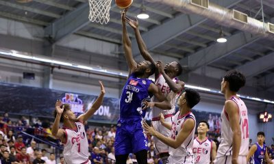 Tiebreaker Times Kouame puts on a block party as Cignal-Ateneo gets back at CEU in Game 3 ADMU Basketball News PBA D-League  Thirdy Ravena Tab Baldwin Maodo Malick Diouf Derrick Pumaren CEU Scorpions Ateneo-Cignal Blue Eagles Angelo Kouame 2019 PBA D-League Season