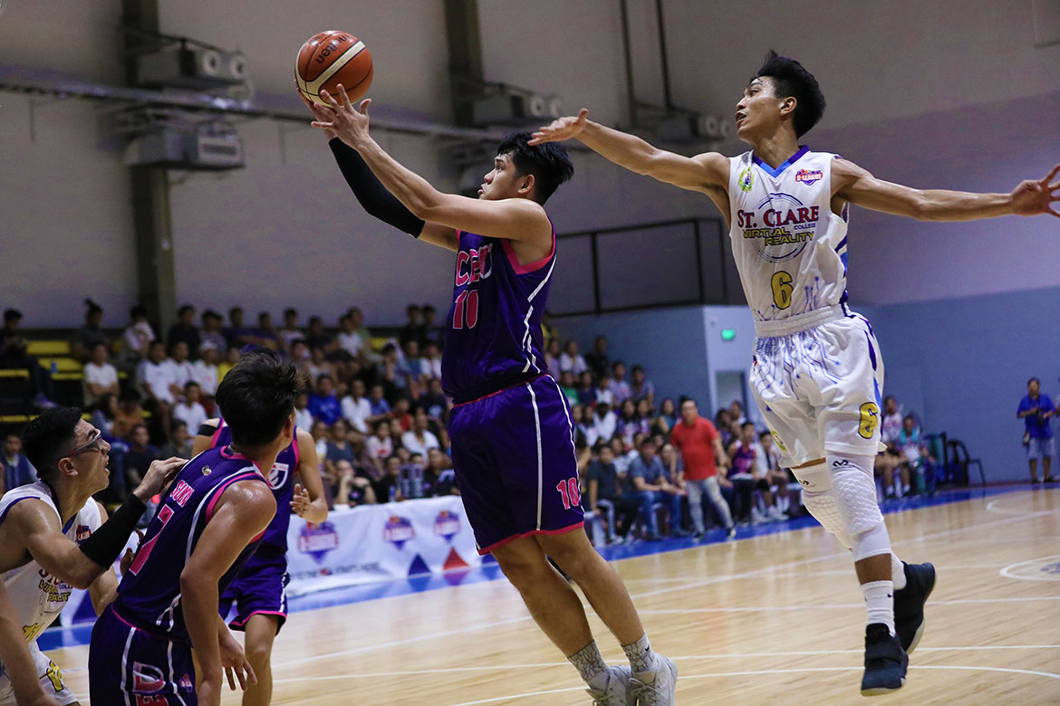 Tiebreaker Times 7-man CEU Scorpions continue brave run as Guinitaran breaks St. Clare's heart in Game 1 Basketball News PBA D-League  St. Clare-Virtual Reality Saints Rich Guinitaran Maodo Malick Diouf Kurt Sunga Junjie Hallare Joshua Fontanilla Jinino Manansala Irvin Palencia Franz Diaz CEU Scorpions 2019 PBA D-League Season