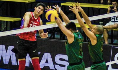 Tiebreaker Times Rebisco makes quick work of Army, IEM stuns Animo CSB DLSU News Spikers' Turf Volleyball  Rebisco-Philippines RanRan Abdilla PJ Rojas Philippine Coast Guard Dolphins Philippine Army Troopers Mark Enciso Mark Alfafara Marck Espejo Kim Malabunga IEM Volley Masters Esmail Kasim Cris Dumago Animo Green Spikers 2019 Spikers Turf Season 2019 Spikers Turf Reinforced Conference
