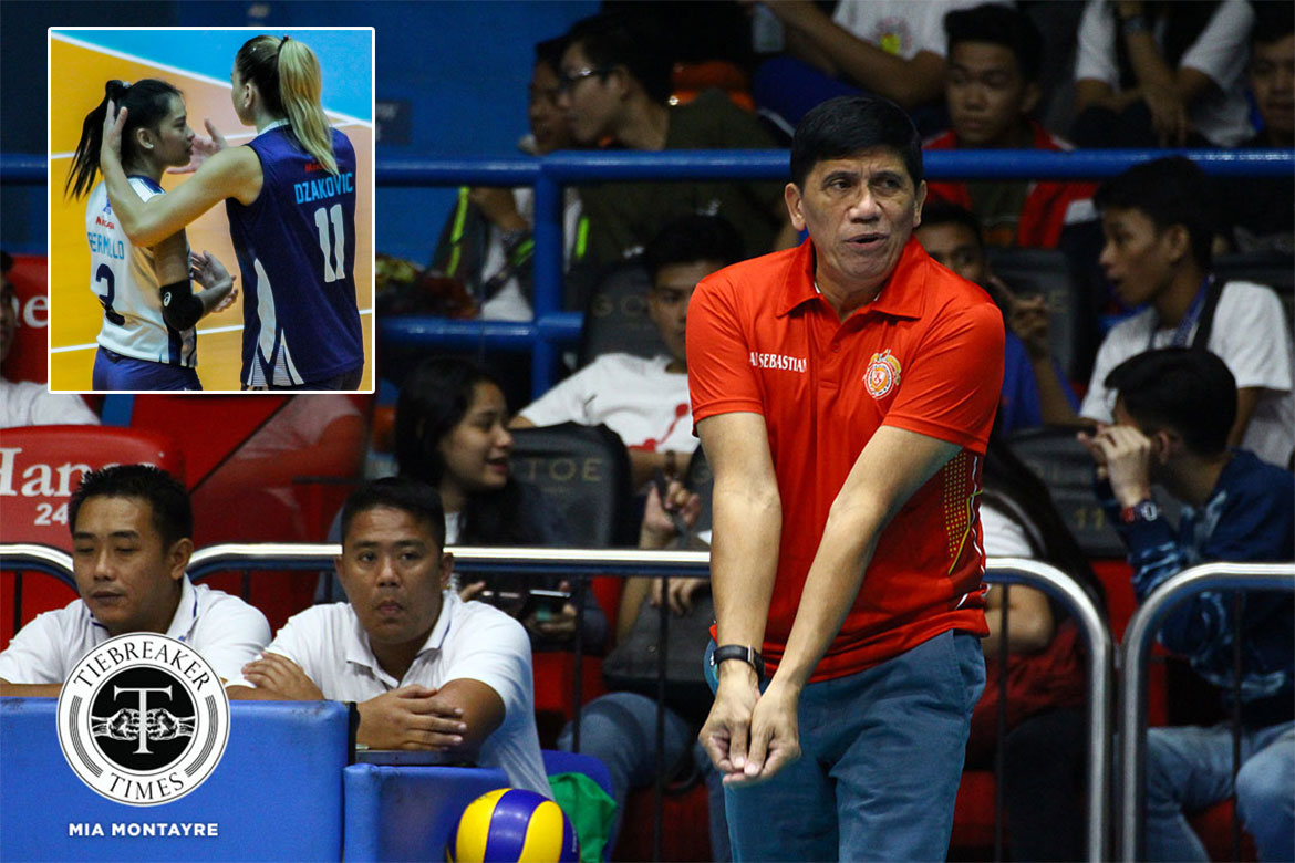 Tiebreaker Times Roger Gorayeb says he will not take sides on Bermillo-Dzakovic incident: 'Yung act itself hindi maganda' News PVL SSC-R Volleyball  Roger Gorayeb Jewelle Bermillo Dani Dzakovic 2019 PVL Season 2019 PVL Reinforced Conference