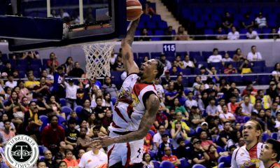 Tiebreaker Times San Miguel blows NorthPort's twice-to-beat advantage Basketball News PBA  San Miguel Beermen Robert Bolick Prince Ibeh Pido Jarencio PBA Season 44 Northport Batang Pier Mo Tautuaa Leo Austria June Mar Fajardo Chris Ross Chris McCullough Arwind Santos 2019 PBA Commissioners Cup