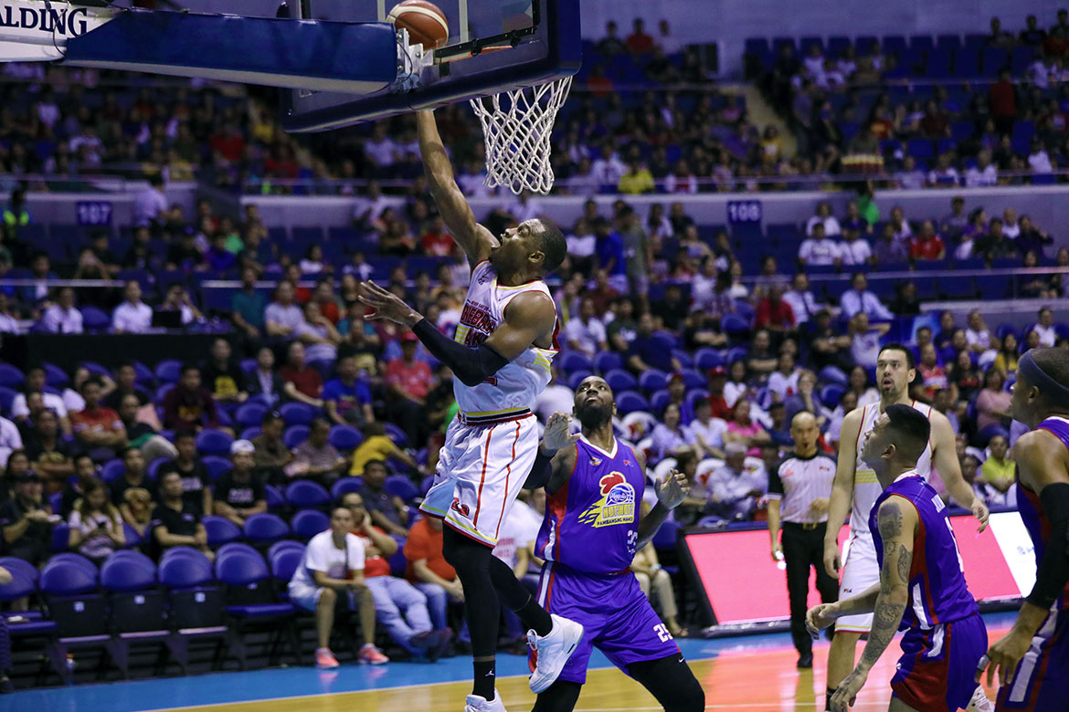 Tiebreaker Times Justin Brownlee powers Ginebra's sweep of Magnolia Basketball News PBA  Tim Cone rakeem christmas PBA Season 44 Mark Caguioa Mark Barroca Magnolia Hotshots LA Tenorio Justin Brownlee Japeth Aguilar Ian Sangalang Chito Victolero Barangay Ginebra San Miguel 2019 PBA Commissioners Cup