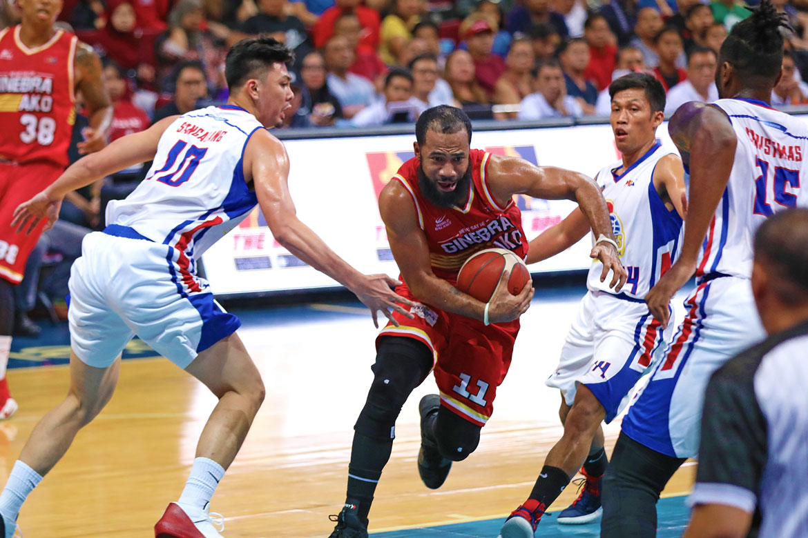 Tiebreaker Times Pringle continues to be the difference as Ginebra takes Game 1 from Magnolia Basketball News PBA  Tim Cone Stanley Pringle rakeem christmas PBA Season 44 Paul Lee Mark Barroca Magnolia Hotshots Justin Brownlee Japeth Aguilar Chito Victolero Barangay Ginebra San Miguel 2019 PBA Commissioners Cup