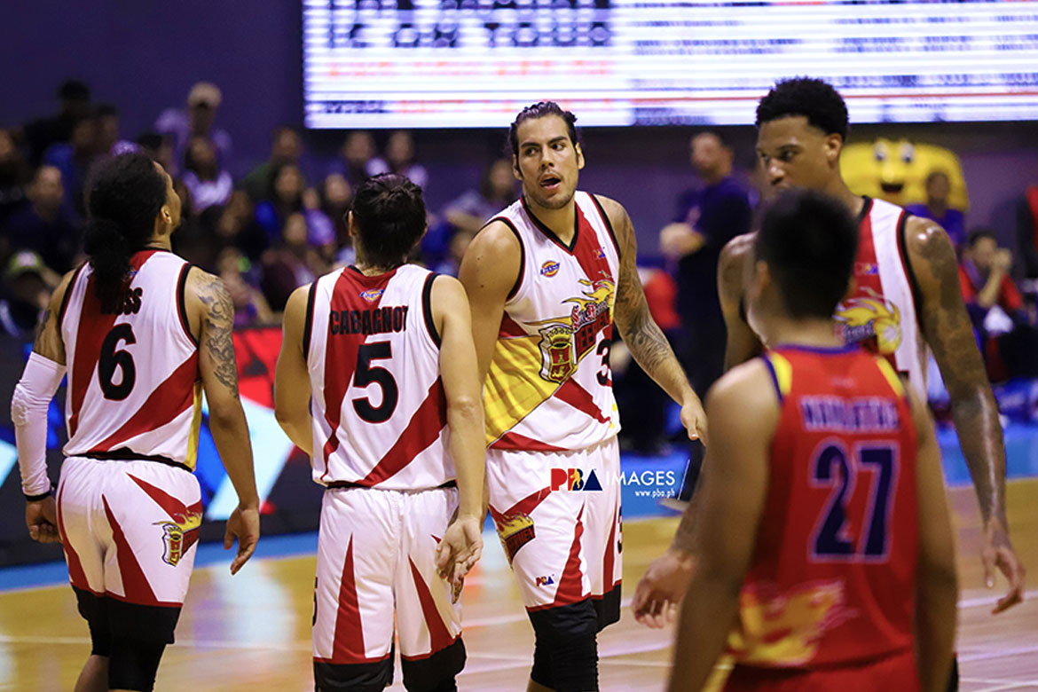 Tiebreaker Times Christian Standhardinger lays it all on the line for San Miguel in Game Five Basketball News PBA  San Miguel Beermen PBA Season 44 Leo Austria Christian Standhardinger 2019 PBA Commissioners Cup
