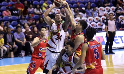 Tiebreaker Times San Miguel weathers Rain or Shine rally for 1-0 semis lead Basketball News PBA  San Miguel Beermen Rain or Shine Elasto Painters PBA Season 44 Nortbert Torres Leo Austria Gabe Norwood Christian Standhardinger Chris Ross Chris McCullough carl montgomery Caloy Garcia Alex Cabagnot 2019 PBA Commissioners Cup