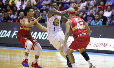 Tiebreaker Times Rosario, Jones join hands as TNT turns back Ginebra for early semis lead Basketball News PBA  Troy Rosario TNT Katropa Tim Cone Terrence Jones Stanley Pringle PBA Season 44 LA Tenorio Justin Brownlee Jayson Castro Bong Ravena Barangay Ginebra San Miguel Anthony Semerad 2019 PBA Commissioners Cup