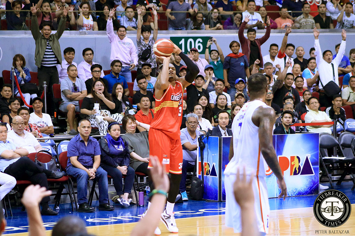 Tiebreaker Times Justin Brownlee comes alive when Ginebra need him the most Basketball News PBA  PBA Season 44 Justin Brownlee Barangay Ginebra San Miguel 2019 PBA Commissioners Cup