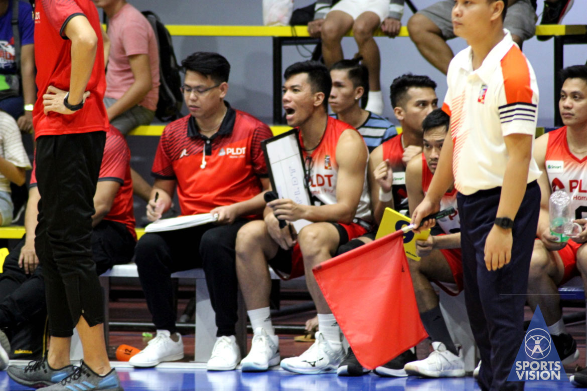 Tiebreaker Times Mark Alfafara makes presence felt for PLDT even from the sidelines News Spikers' Turf Volleyball  PLDT Home Fibr Power Hitters Mark Alfafara 2019 Spikers Turf Season 2019 Spikers Turf Reinforced Conference