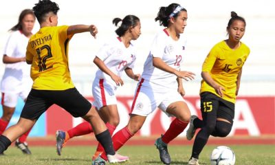 Tiebreaker Times Cam Rodriguez brace powers PWNFT strong AFF start vs Malaysia Football News Philippine Malditas  Philippine Women's National Football Team Malaysia (Football) Let Dimzon Inna Palacios Hali Long Camille Rodriguez 2019 AFF Women's Championship