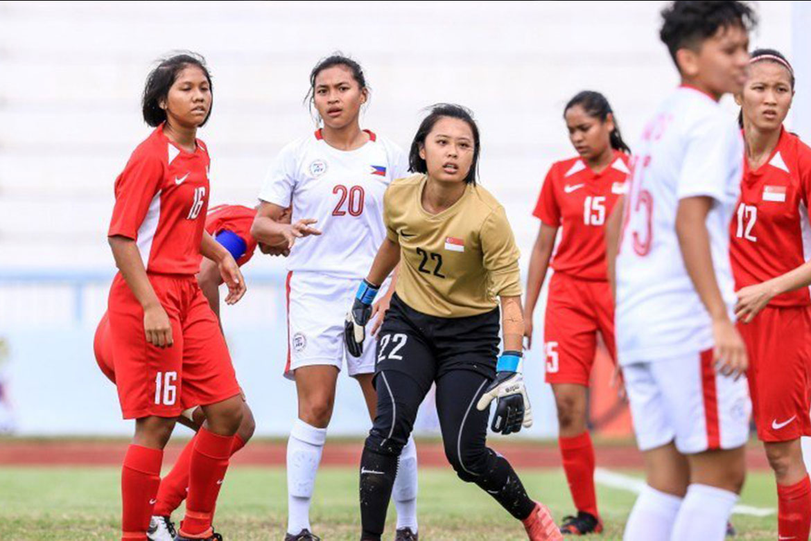 Tiebreaker Times Del Campo hat-trick catapults Philippines to first-ever AFF semis berth Football News Philippine Malditas  Stacey Cavill Singapore (Football) Quinley Quezada Philippine Women's National Football Team Let Dimzon Alisha Del Campo 2019 AFF Women's Championship