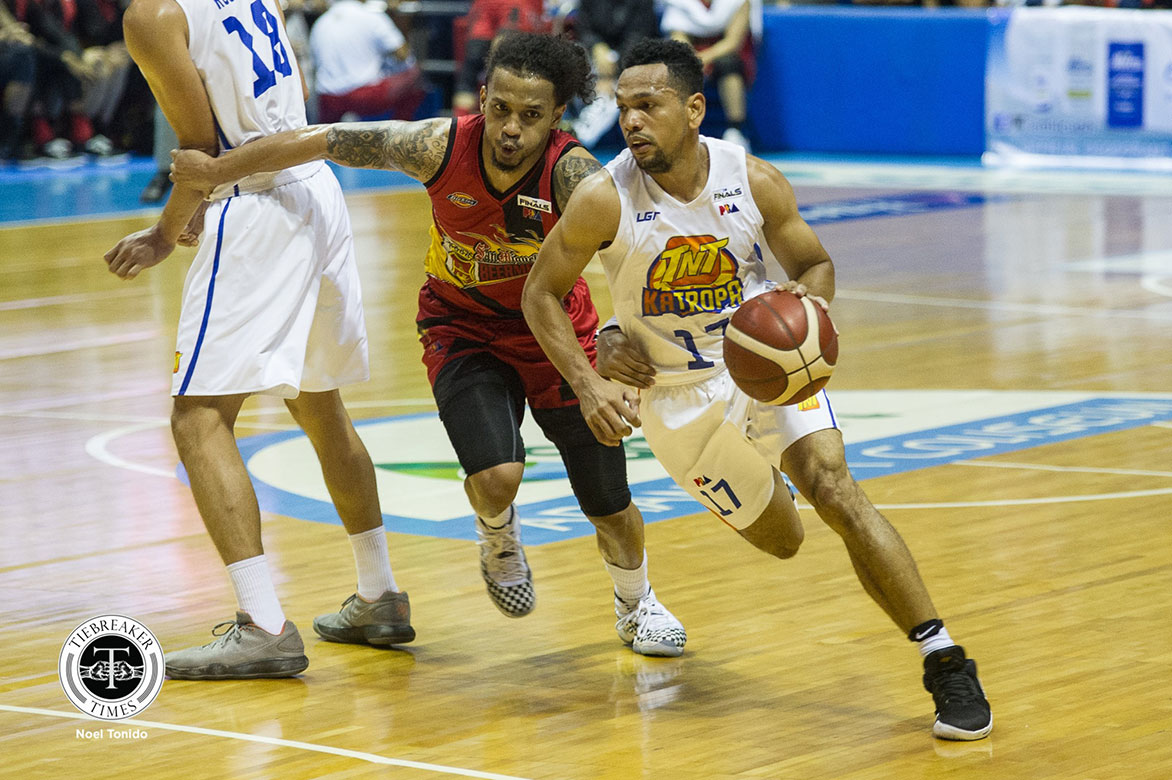 Tiebreaker Times Castro, Jones coronation spoiled by San Miguel Basketball News PBA  TNT Katropa Terrence Jones PBA Season 44 Jayson Castro 2019 PBA Commissioners Cup