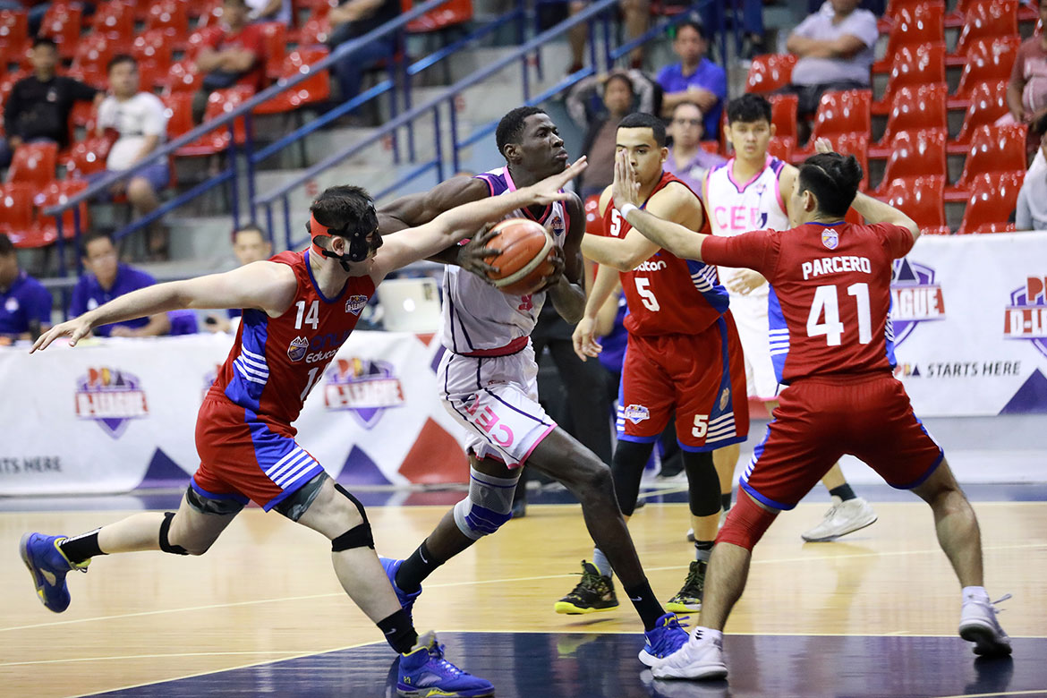 Tiebreaker Times Diouf, CEU dump AMA for third win Basketball News PBA D-League  Vince Tolentino Rich Guinitaran Mark Herrera Maodo Malick Diouf Luke Parcero Derrick Pumaren Dave Bernabe CEU Scorpions AMA Online Education Titans Aaron Black 2019 PBA D-League Second Conference