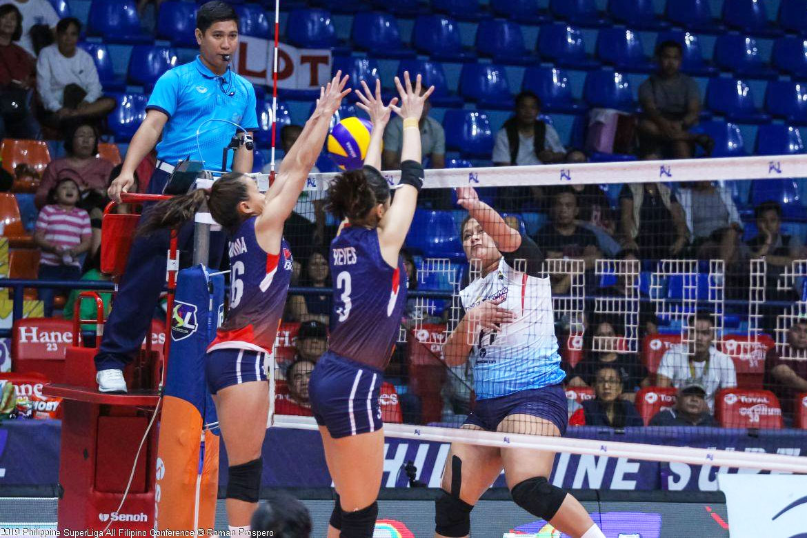 Tiebreaker Times Pacres still not used to playing against Rondina, gets blocked News PSL Volleyball  Petron Blaze Spikers Marinerang Pilipina Dimdim Pacres Cherry Rondina 2019 PSL Season 2019 PSL All Filipino Conference