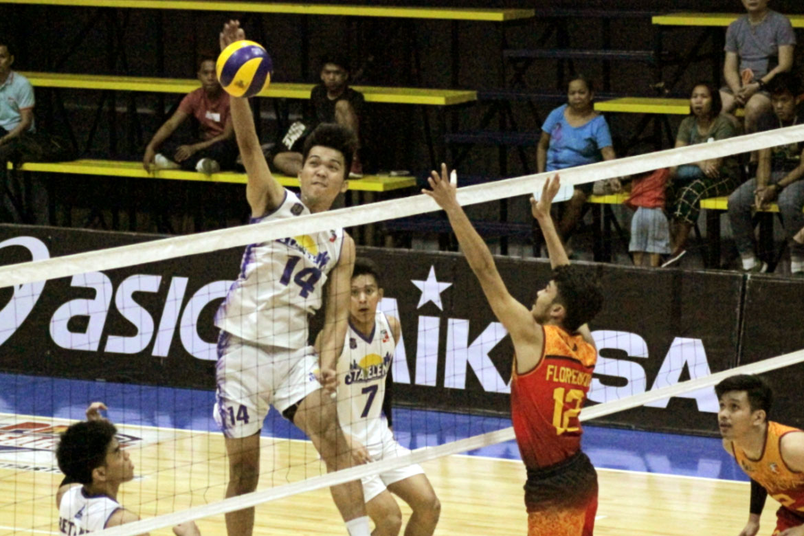 Tiebreaker Times Sta. Elena-NU pounds Mapua, Adamson soars to second win AdU DLSU MIT News NU Spikers' Turf Volleyball  Sta. Elena-National University Ball Wreckers Nico Almendras NCBA Wildcats Mark Egan Mapua Men's Volleyball John Mark Ronquillo James Natividad George Labang Dong dela Cruz Domingo Custodio DLSU Men's Volleyball CEU Men's Volleyball Carlo Villahermosa Berhashidin Daymil Baden Pabalate Arnold Laniog Adamson Men's Volleyball 2019 Spikers Turf Season 2019 Spikers Turf Open Conference