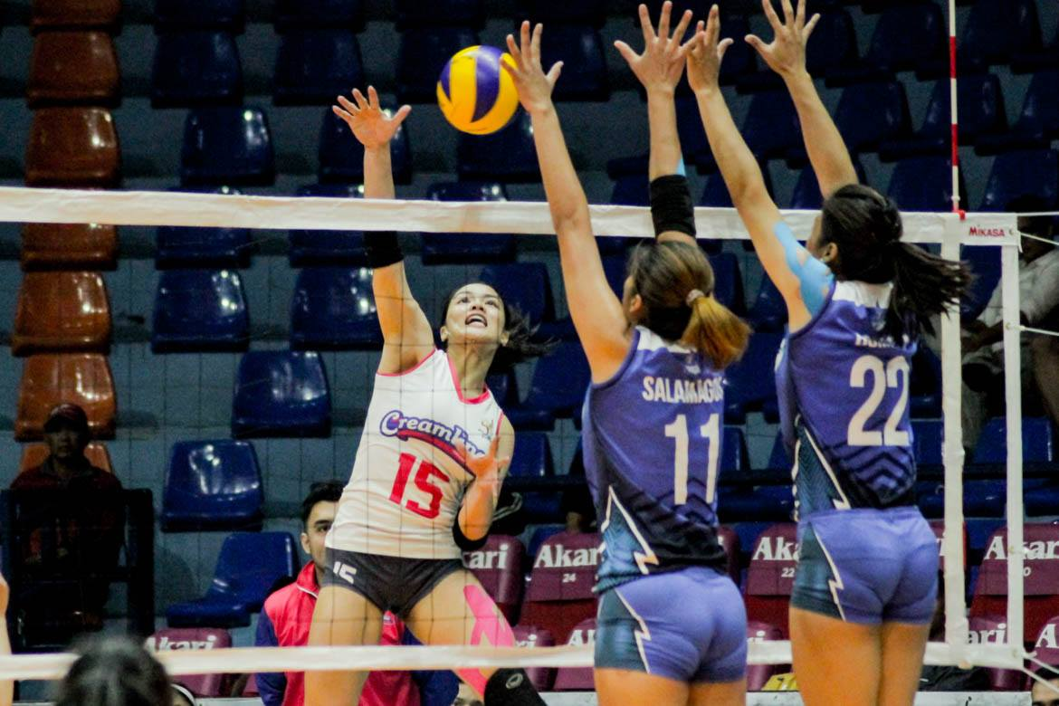 Tiebreaker Times Creamline remains unscathed as Galanza, Negrito step up sans Morado, Valdez News PVL Volleyball  Rommel Abella Risa Sato Kyle Negrito Jema Galanza Grazielle Bombita Creamline Cool Smashers Bali Pure Purest Water Defenders 2019 PVL Season 2019 PVL Open Conference